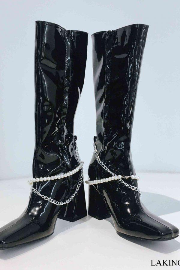 boots cổ cao phối ngọc trai