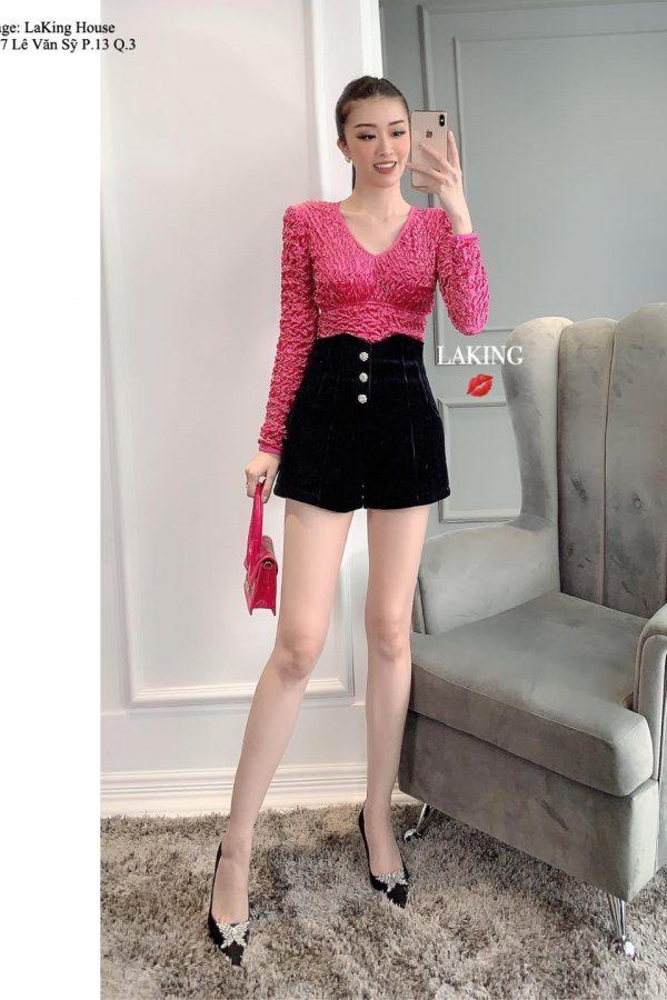 áo hồng cổ V vai độn nhún