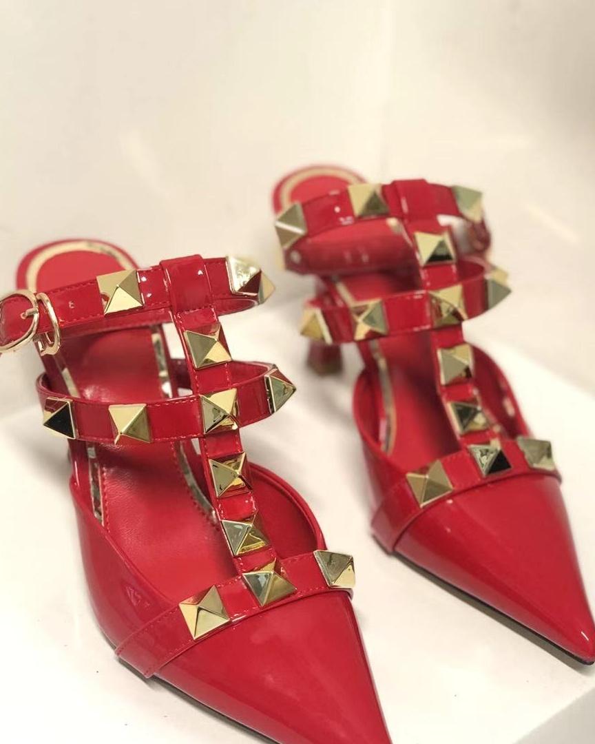 giày đỏ cao gót đan dây