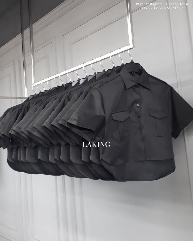 áo sơ mi croptop đen