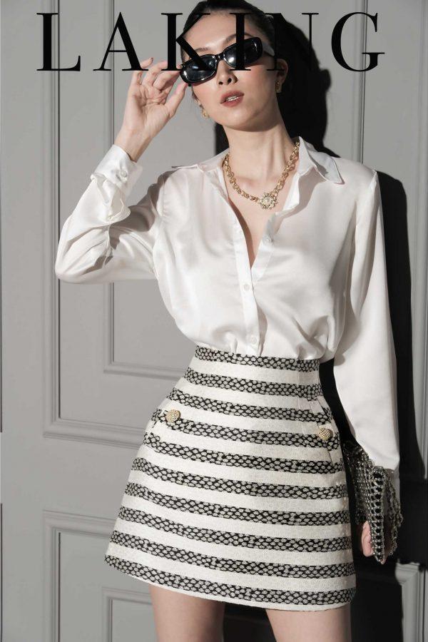 Váy form A sọc trắng đen đẹp nhất